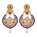 I Jewels Gold Plated Earrings For Women E2342Bl (Blue)
