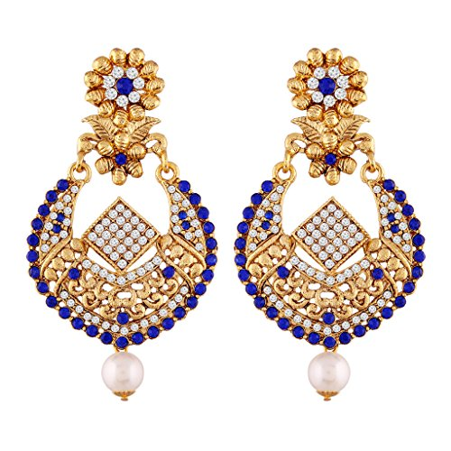 I Jewels Gold Plated Earrings For Women E2342Bl (Blue) by I Jewels