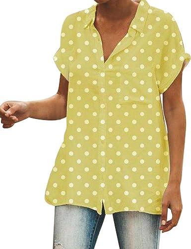 Qingsiy Camisetas Mujer Blusa Suelta De Mujer Manga Corta Camiseta con Estampado Lunares Tops Camisa Escote del O-Cuello Top De La Moda Mujer De Camiseta Tops Mujer Verano: Amazon.es: Ropa y accesorios