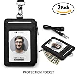 Badge Holder, Dream Level Durable PU Badge Holder Bus Card Holder for Office Company Employee School Student Card Bus Pass Card(1 Pack/2 Pack). (ZIP2PACK)