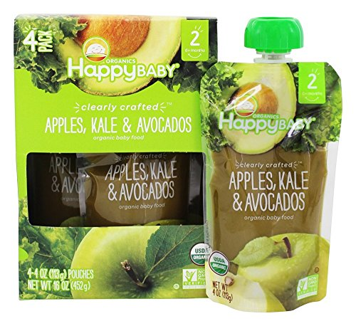 HappyFamily - HappyBaby Organic Clearly Crafted Stage 2 Baby Food 6+ Months Apples, Kale & Avocados - 4 Pouches by Happy Family
