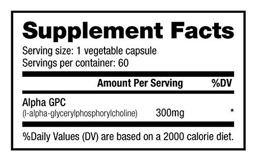 NutraBio Alpha GPC (300mg, 60 Vegetable Capsules)
