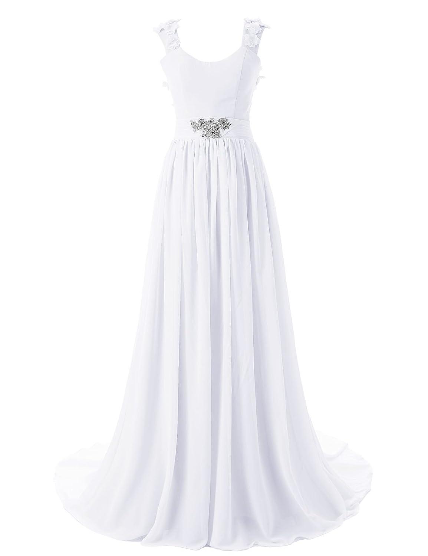 Dressystar Bodenlanges elegantes Ballkleid fashion Brautjungkleid Chiffon Wei? in Gr??e 50W