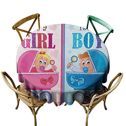 Wendell Joshua red Tablecloth 50 inch Gender Reveal,Girl and Boy Baby Carriage Looking Newborn Announcement Theme Print,Pale Pink and Blue Suitable for Indoor Outdoor Round Tables