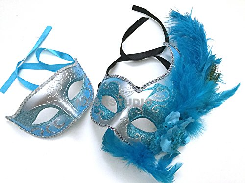 MasqStudio Couple Baby Blue Turquoise Masquerade Ball Mask Pair Feather Dress up Birthday Party Prom (Silver Turquoise)