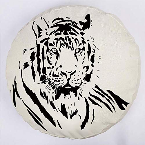 Round Decorative Throw Pillow Floor Meditation Cushion Seating/Black Stripes of a Large Hunter Cat Nature Scenes Beautiful Sublime Beast Digital Artwork Decorative/for Home Decoration 17