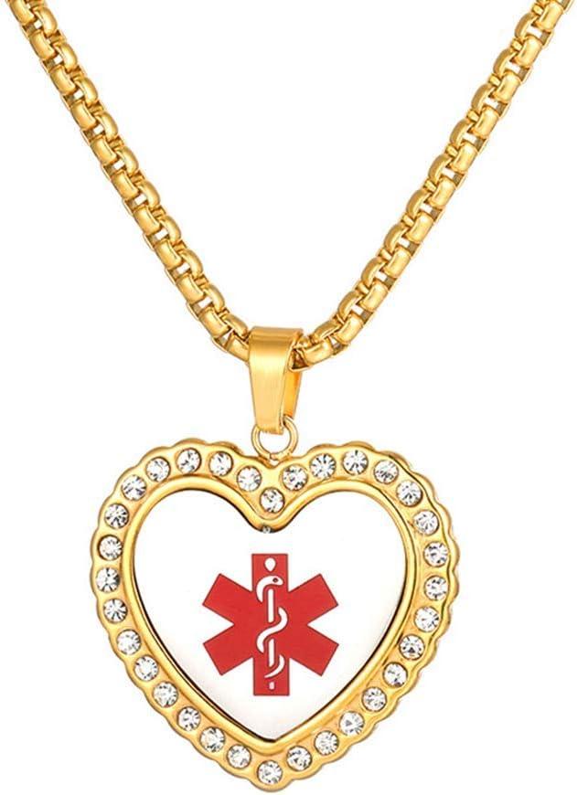 BD.Y Hombres Collar de Acero Inoxidable Muestra médica Colgante en Forma de corazón Signos de Emergencia Joyería Chapado en Oro Joyas Acción de Gracias Navidad