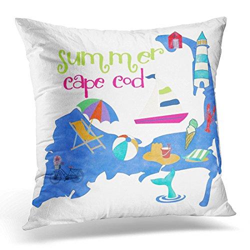 VANMI Throw Pillow Cover Map Massachusetts Cape Cod Watercolor Vacation Decorative Pillow Case Home Decor Square 20x20 Inches Pillowcase