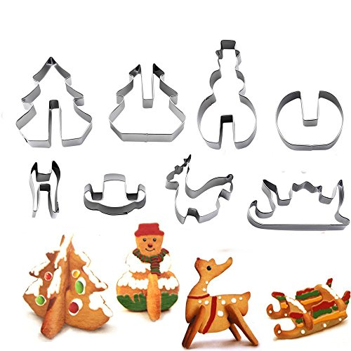 (3D CHRISTMAS Scenario Stainless Steel Cookie Cutter Set Snowman Christmas Tree Deer And Sled -8 Piece)