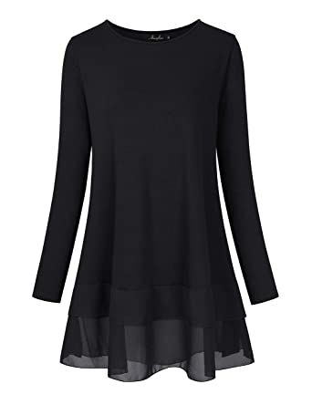 7df92535918 AMZ PLUS Women s Plus Size Flowy Long Tops Chiffon Splicing Loose Blouse  Tunic Dress Shirt Black