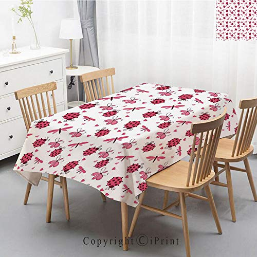 Plaid Decorative Linen Tablecloth With Tassel Oilproof Thick Rectangular Wedding Dining Table Cover Tea Table Cloth,47x63 Inch,Ladybugs,Domed Back Round Ladybugs with Hearts Flowers Dragonflies Romant ()