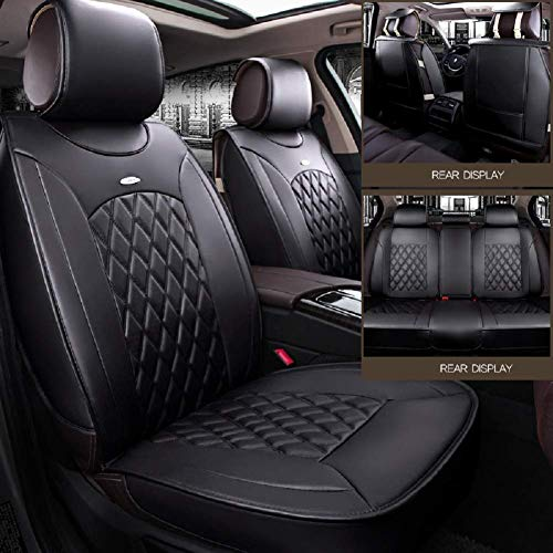 Black,Red,Beige Full Set Universal Fit 5 Seats Car 3D Surrounded Luxury Waterproof Pu Leather and Breathable Artificial Silk Car Seat Covers Trims for Sedan SUV (Black) (Best Luxury Suv For 3 Car Seats)