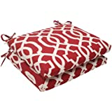 pillow perfect indooroutdoor new geo squared seat cushion red set of 2 - Red Decorative Pillows