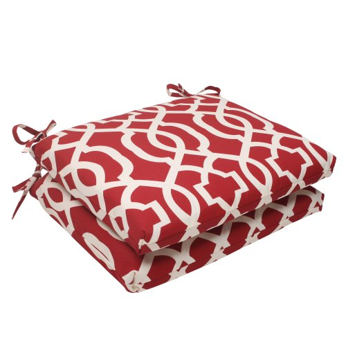 Pillow Perfect Indoor/Outdoor New Geo Squared Seat Cushion, Red, Set of 2 (White Wicker Outdoor Sets Dining)