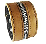 D'SHARK D'SHARK 1.8'' Wide Zipper Design Biker Leather Bangle Cuff Bracelet Wristband for Unisex (Brown)