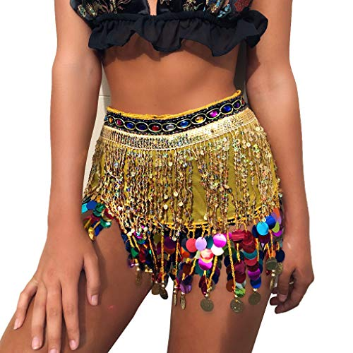 - MUNAFIE Belly Dancing Belt Colorful Waist Belly Dance Hip Scarf Belt Triangle Skirt (Gold&Colorful)