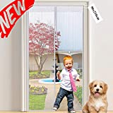 39x83inch Magnetic Screen Door White Heavy Duty mesh Curtain Pet and Kid Friendly Full Frame Seal Fly Mosquitos Bug Insect Gazebo-White 100x210cm