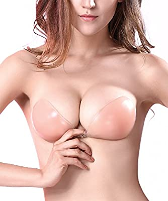 Fitglam Invisible Silicone Adhesive Bra Strapless Sticky Bras, Backless & Push-up