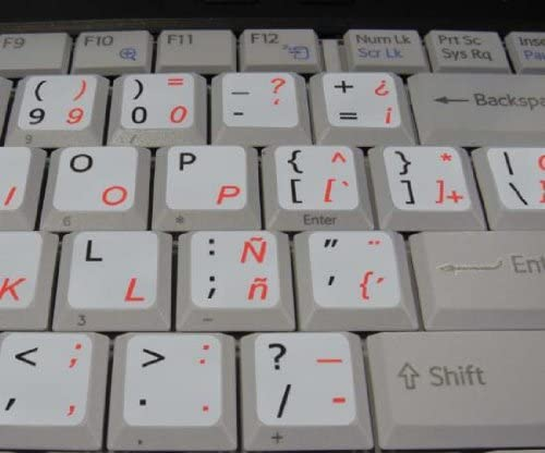 SPANISH TRADITIONAL -ENGLISH NON-TRANSPARENT KEYBOARD STICKERS LIGHT GREY BACKGROUND