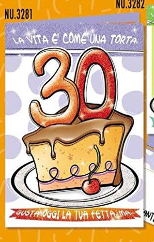 Tarjeta Felicitación cumpleaños 30 años una porción de tarta ...