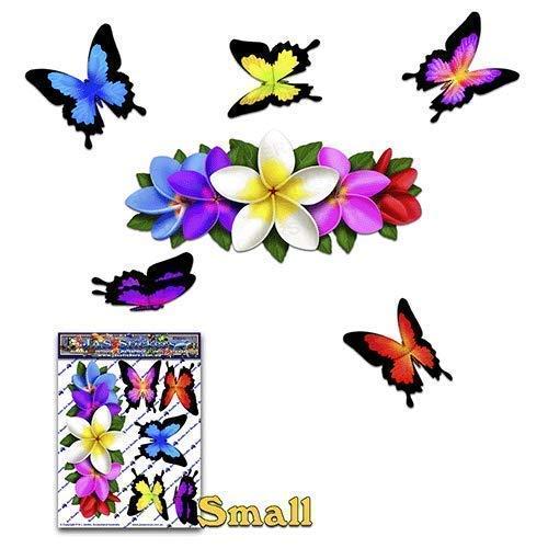 (FLOWER Multicolored Frangipani PLUMERIA Small centre + BUTTERFLY Animal Car Decal Sticker - ST00046MC_SML - JAS Stickers)