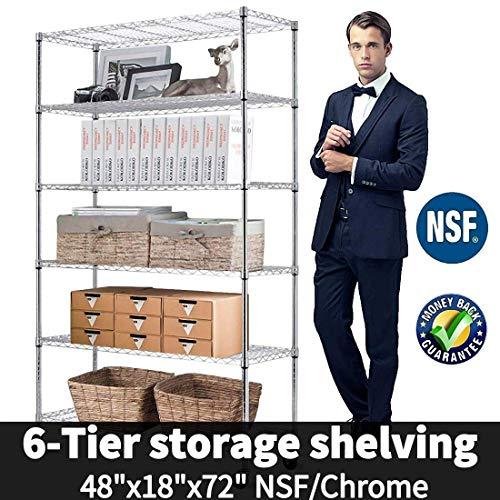 6-Tier Shelf Wire Shelving Units, Height Adjustable Organizer Garage Storage Units Heavy Duty Utility Metal Rack,4800lbs Wire Shelving Rack w/Wheels for Garage Office Kitchen, 48