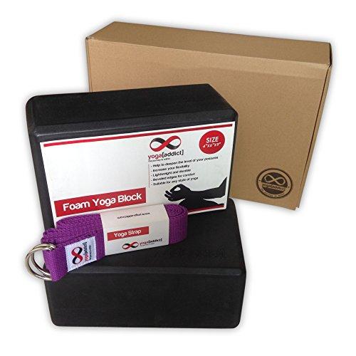 YogaAddict Cork or Foam Yoga Blocks 2 Pack and Yoga Strap Set with Box, Set, Yoga, Pilates, Deepen...