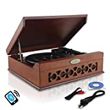 Updated Version Pyle Bluetooth Retro Turntable With Speakers, Wireless Record Player, Record Player Convert Vinyl to Mp3, Mac and PC, Includes Music Editing Software, 3 Speed Turntable: 33, 45, 78 RPM