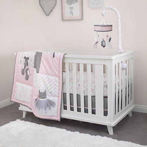 NoJo Ballerina Bows 4 Piece Nursery Crib Bedding Set Pink/Silver/White [並行輸入品]   B07HLHQDW7