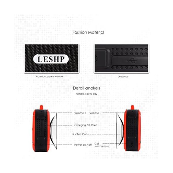 Haut-parleur Bluetooth leshp sans fil stéréo portable Musique Box (Basses puissantes, audio haute définition, IP66anti-éclaboussures, connexion USB pour portable à charges de plein air) 4