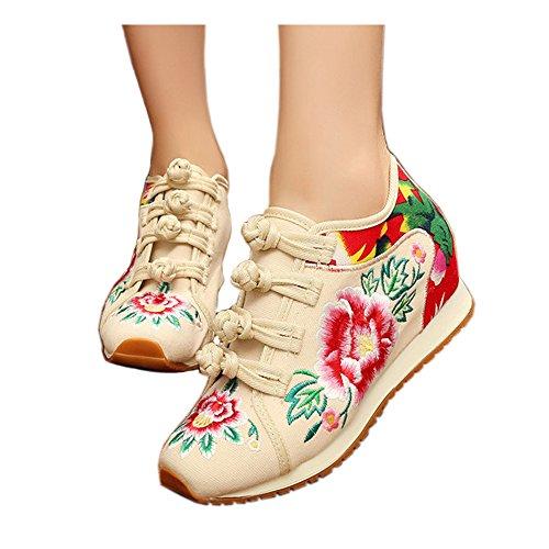 Fleur Chaussures Broderie En Beige Voyage Casual Peluche Occasionnels Wedge Femmes Short Augmentées De w4qSIx