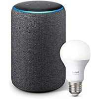All-new Echo Plus (2nd Gen) Bundle with free Philips Hue Bulb - Charcoal