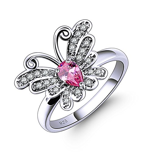 Veunora 925 Sterling Silver Created Pear Cut 4x6mm Pink Topaz Filled Butterfly Ring Size 6