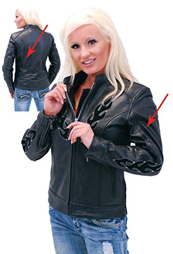 Jamin' Leather Studded Black Flame Motorcycle Jacket for Women (2XL) #L584ZSFK - Flame Motorcycle Jacket