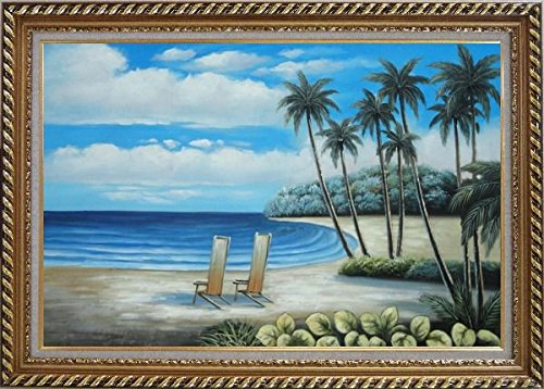 Framed Oil Painting 24''x36'' Palm Trees Two Chairs Hawaii White Sand Beach Blue White Sky Seascape America Naturalism Stylish Frame by BeyondDream