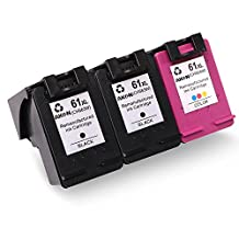 Remanufactured Ink Cartridges Replacement for HP 61 61 XL (2 Black, 1 Tri-Color) High Yield for HP Envy 4500 5530 5534 Officejet 4630 4632 Deskjet 1000 1512 2540 3510 3050