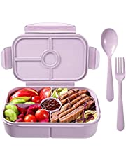 Bento Box for Adults Lunch Containers for Kids 4 Compartment Lunch Box Food Containers Leak Proof(Includes Flatware,Light Purple)