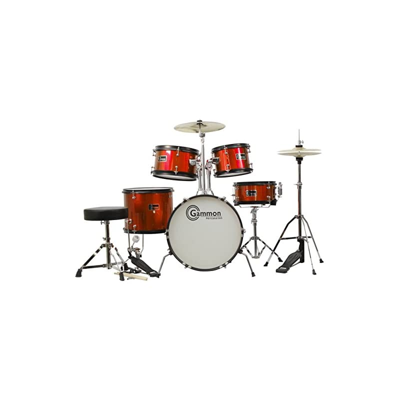 Junior 5-Piece Red Drum Set with Cymbals