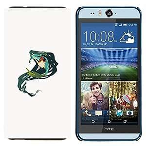 EJOOY---Cubierta de la caja de protección para la piel dura ** HTC Desire Eye M910x ** --Sirena Verde Naturaleza de hadas del arte del dibujo