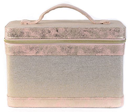 Ellen Tracy Makeup Train Case With Mirror Zipper Removable Organizer Vegan Leather Gold and Soft Pink Shimmer Design for Women Girls Travel - Partition Case Soft