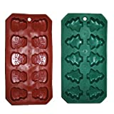 Set of 2 Flexible Christmas Themed Ice Cube Trays, Christmas Tree and Snowman Shapes