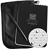 Rite in the Rain Weatherproof 4'' x 6'' Top-Spiral Notebook Kit: Black CORDURA Fabric Cover, 4'' x 6'' Black Notebook, and Weatherproof Pen (No. 746B-KIT)