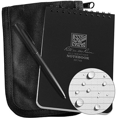 Rite in the Rain Weatherproof 4'' x 6'' Top-Spiral Notebook Kit: Black CORDURA Fabric Cover, 4'' x 6'' Black Notebook, and Weatherproof Pen (No. 746B-KIT) by Rite In The Rain