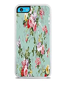 Vintage Roses Floral White Silicone Case for iPhone 5C