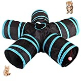 UniM Cat Tunnel, 5-Way Tunnel Collapsible Extensible Cat Tube Crinkle Pop Up Tunnel