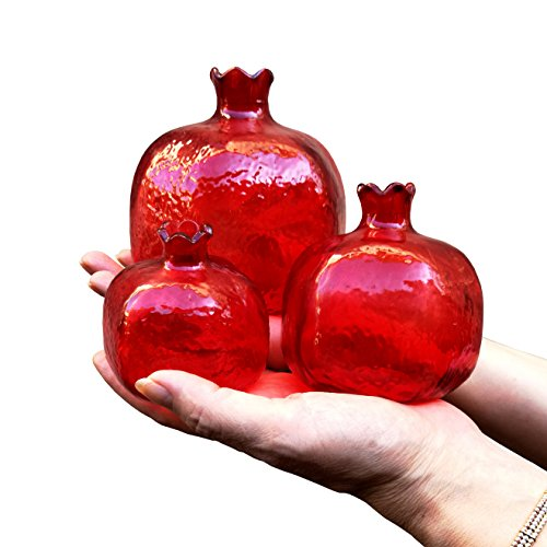 Pomegranate Home Decor,Ornament,Red Glass Vase,Set of 3,Perfect Gift,Christmas Gift,New Year Gift (Red Vase Set)