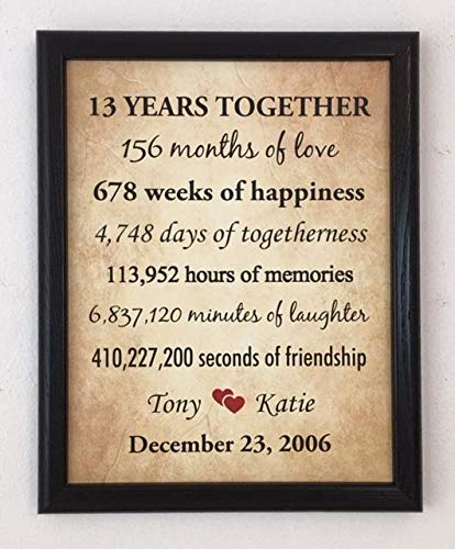 Amazon Com Framed 13th Anniversary Gifts For Couple 13 Year