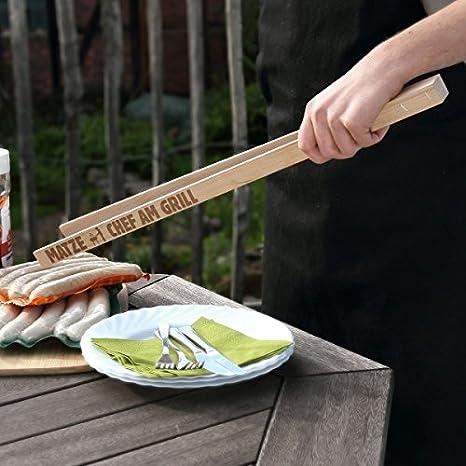 mit Gratis Gravur 55cm lang Grillzange für den Chef am Grill