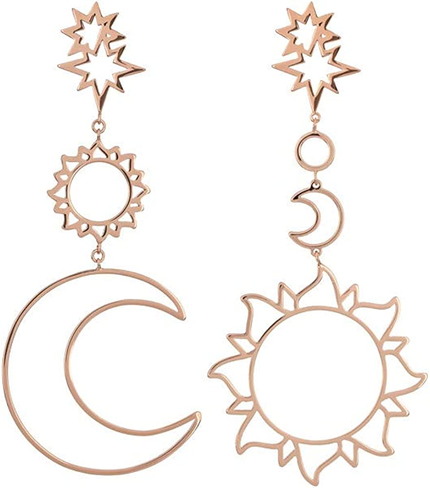POQOQ Hollow Earrings Fashion Women Bohemia Star Sun Moon Metal Alloy Vintage