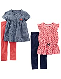 Simple Joys by Carter's Toddler Girls' 4-Piece Playwear Set, Red Geo/Chambray Butterfly, 2T